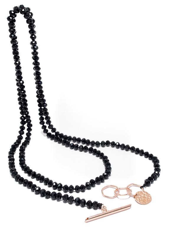 Famoso Collana lunga con cristalli neri sfaccettati e chiusura in bronzo  YH68